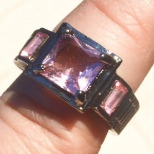 Jewelry - Pink Sapphire 18KT Black Gold Filled Size 6 Ring